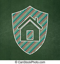 Business concept: Shield on chalkboard background - Business...