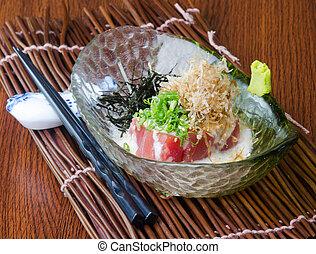 japoneses, cozinha, sashimi, fundo