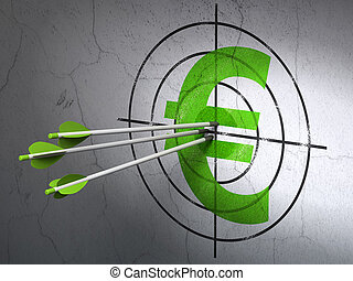 Currency concept: arrows in Euro target on wall background -...