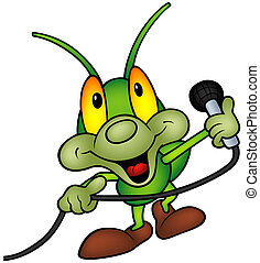 Green Bug DJ - Happy Green Bug DJ - Colored Cartoon...
