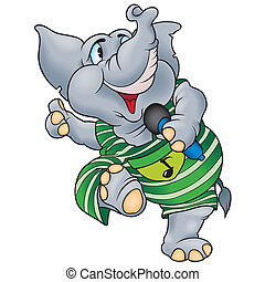 Elephant With Microphone - Cheerful Cartoon Illustration,...