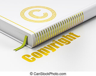 Law concept: book Copyright, Copyright on white background