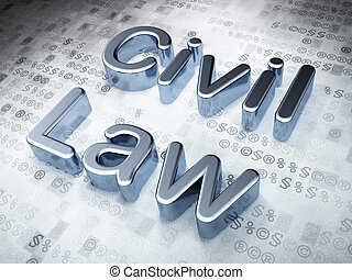 Law concept: Silver Civil Law on digital background, 3d...