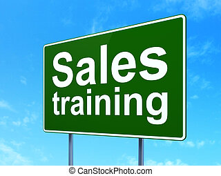 Marketing concept: Sales Training on road sign background
