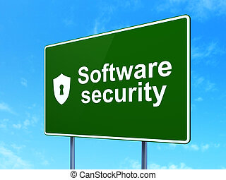 Privacy concept: Software Security and Shield With Keyhole on road sign background