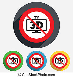 No 3D TV sign icon 3D Television set symbol New technology...