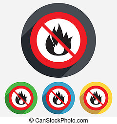 No Fire flame sign icon Fire symbol - Do not make Fire flame...