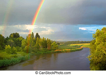 Summer evening landscape with rainbow over the river...
