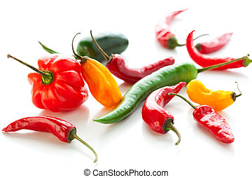 Mixed hot peppers - mix of fresh colorful hot chili peppers