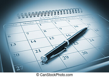 Ballpoint Pen on Calendar - Close Up of Ballpoint Pen on...
