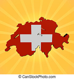 Switzerland map flag on sunburst illustration