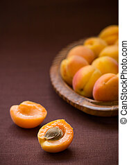 apricots - fresh ripe apricots on a table
