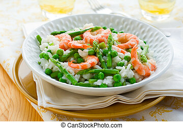 asparagus shrimp risotto - italian risotto with asparagus,...