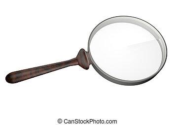 Lens - Hand lens over white background, 3d render
