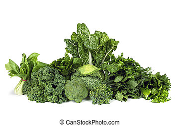 Leafy Green Vegetables Isolated - Variety of leafy green...
