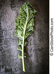 Kale Leaf on Slate Overhead View - Kale leaf, overhead view...