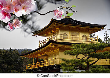 Temple of the Golden Pavilion on Kyoto, Japan