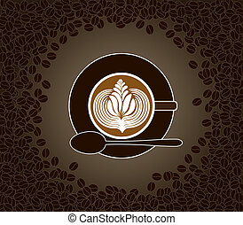 Cup of cappuccino with milk pattern surrounded by cofee...