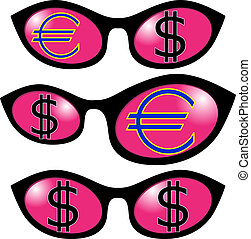 Dollar and euro in Glasses