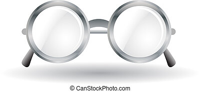 Metal rounded glasses vector illustration