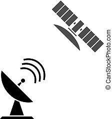 Satellites - Satellite icon button vector illustration