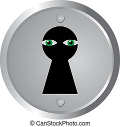eyes spy through keyhole vector illustration