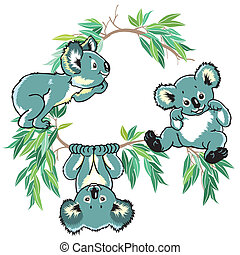 cartoon koala bears for little kids, children illustration...