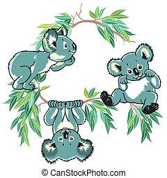 cartoon koala bears for little kids, children illustration...