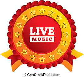 Live music sign icon. Karaoke symbol. Red award label with...