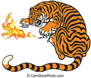 tiger playing with fire - tiger with fire illustration...
