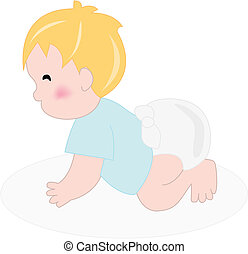 boy with diaper crawling - Illustration of baby boy with...