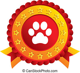 Dog paw sign icon. Pets symbol. Red award label with stars...