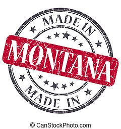 made in Montana red round grunge isolated stamp