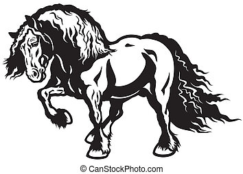 draft horse black and white illustration