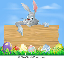 Easter bunny and wooden sign - An illustration of the Easter...