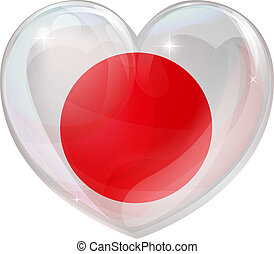 Japan flag love heart