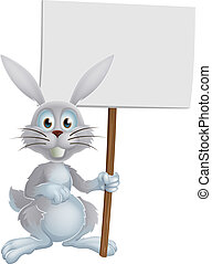 White Easter bunny sign - Cartoon white Easter bunny rabbit...