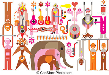 Circus - vector illustration - Circus Show - color vector...