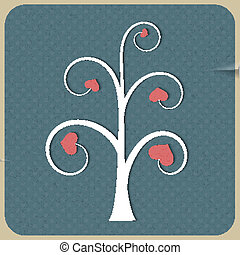 White abstract tree with hearts on vintage background