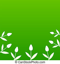 Green summer background with tulips