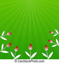 Green summer background with red tulips