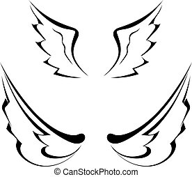 Black tattoo wings isolated on white background