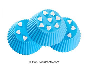 Blue silicone baking cups. Isolated on white background