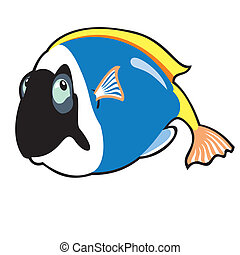 cartoon blue fish - cartoon tropical blue fish, image...
