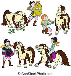cartoon set with girl and pony - set with little girl and...