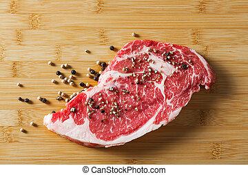 ribeye, pimienta, viejo, carne de vaca