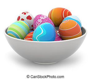 easter eggs in a white bowl - heap of colored Easter eggs in...