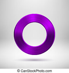 Purple Abstract Circle Button with Metal Texture - Purple...