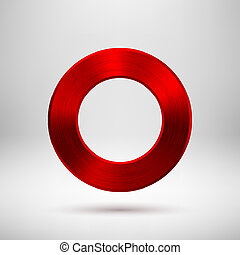 Red Abstract Circle Button with Metal Texture - Red abstract...