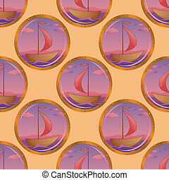 Seamless background, portholes and ships - Seamless...